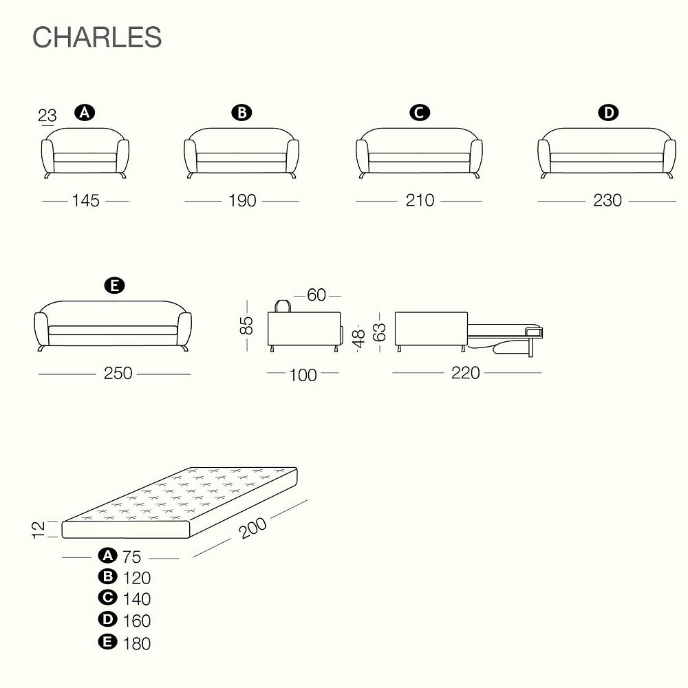 Rozkládací křesla a pohovky CHARLES