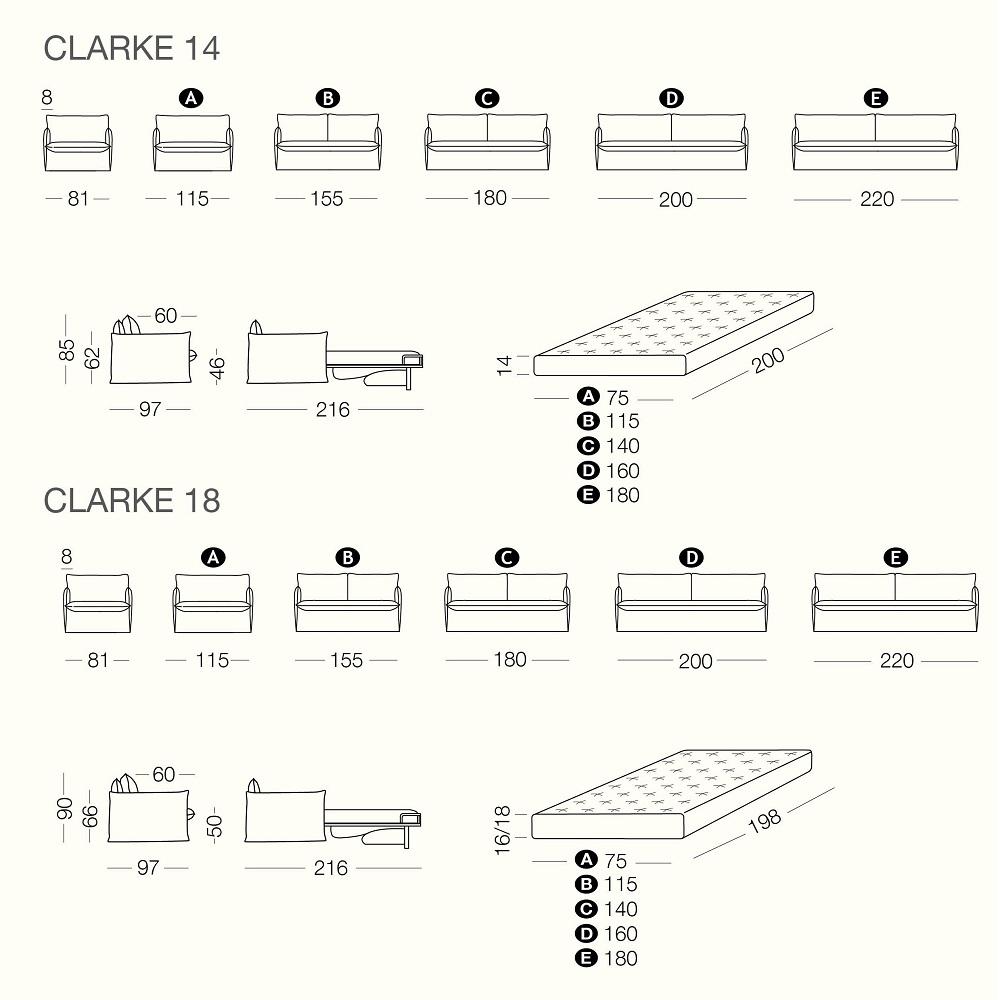 Rozkládací křeslo CLARKE - rozměry