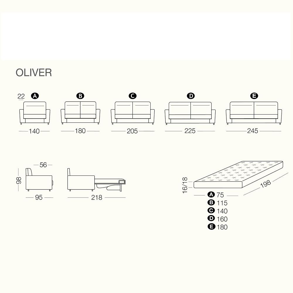 Rozkládací pohovka OLIVER - rozměry